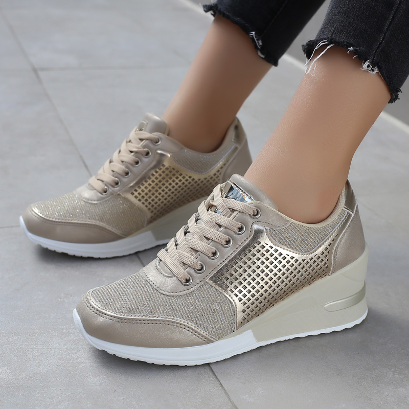 2019 Women Height Increasing 6.5 Cm Walking Shoes Comfortable Sport Running Sneakers Gold Silver Ladies Footwears Brand Shoes