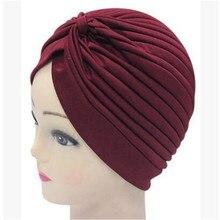 1pcs Bandane Delle Donne Elastico Turbante Musulmano Del Cappello Della Fascia Ordito Femminile Chemio Hijab Annodato Cap Indiano Adulto Avvolgere la Testa per delle donne