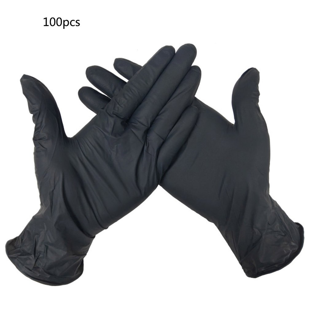 100/50pc Black Disposable Gloves Latex Dishwashing/Kitchen/Work/Garden Universal For Left And Right Hand Anti-Static Gloves