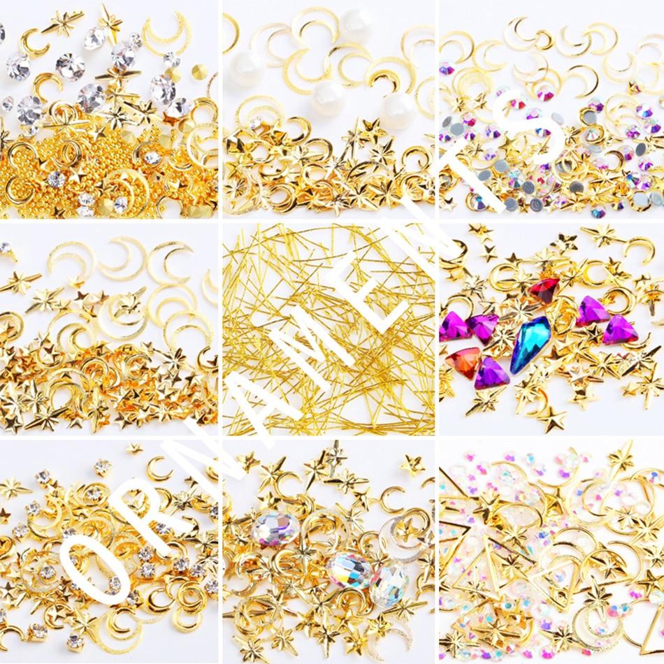 MORDDA 1 Box Nail Decoration Nail Art Gold Star Moon Rhinestones For Nails Mix 3D Rhinestones Glitter Manicure Accessories