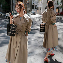 Trench Coat for Womenspring Autumn Classic Double-breasted Loose Embroidered Khaki Ladies Street Wear Ropa Mujer