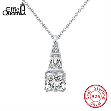 Effie Queen Geometric Pendant Necklace 925 Sterling Silver with  AAAA Zircon Chain Necklace for Female  Jewelry Party BN213