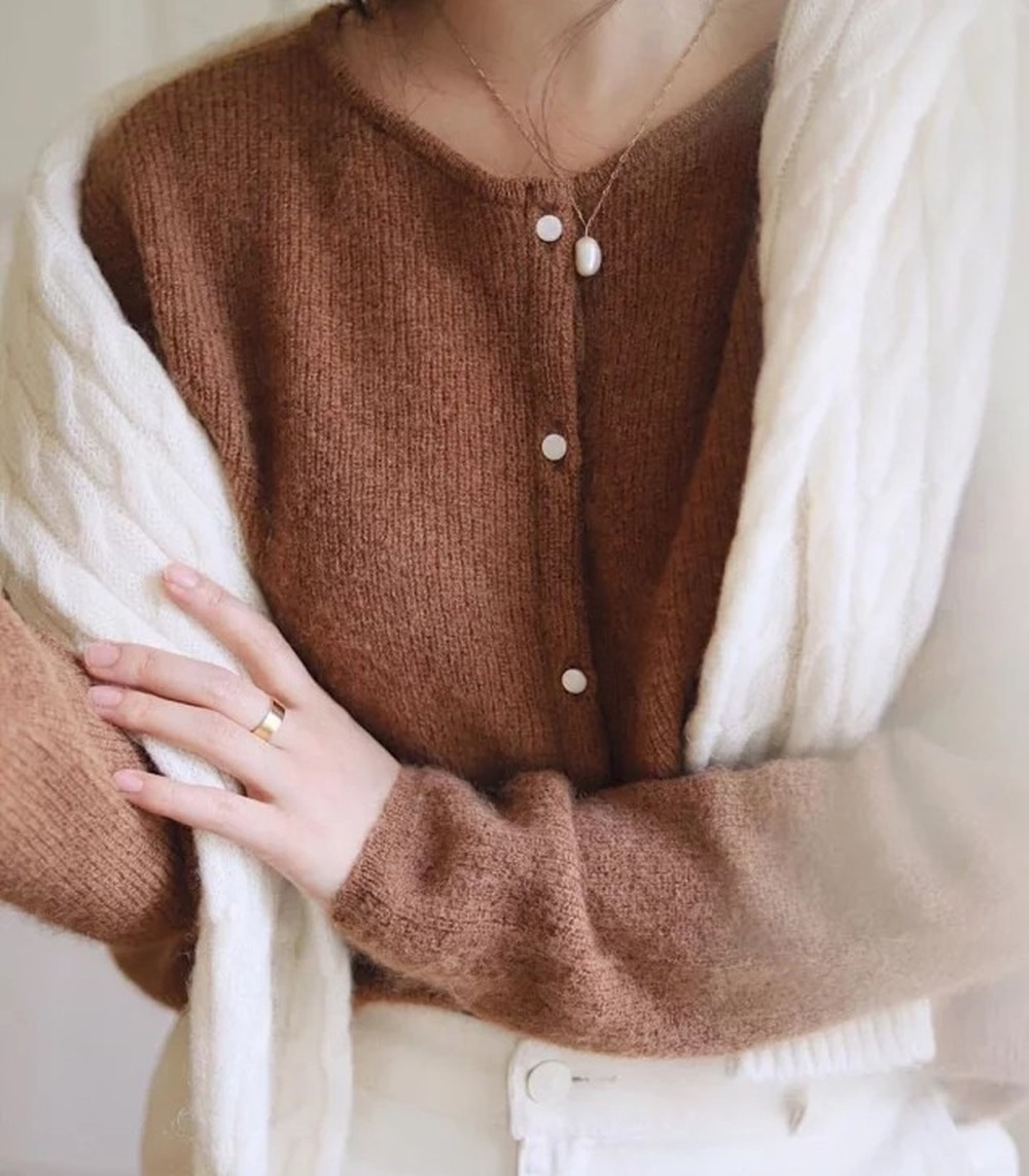 Chic Knitted Cardigan Women Sweater Solid Color Single Breasted Knitted Sweater Knitwear Jacket