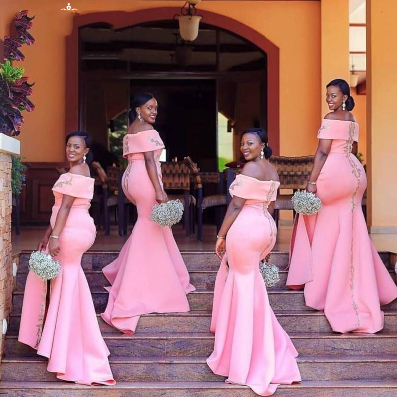 Fashion Long Pink Mermaid Bridesmaid Dresses With Silver Appliques Beads Boat Neck Long Maid Of Honor Dress Party For Women