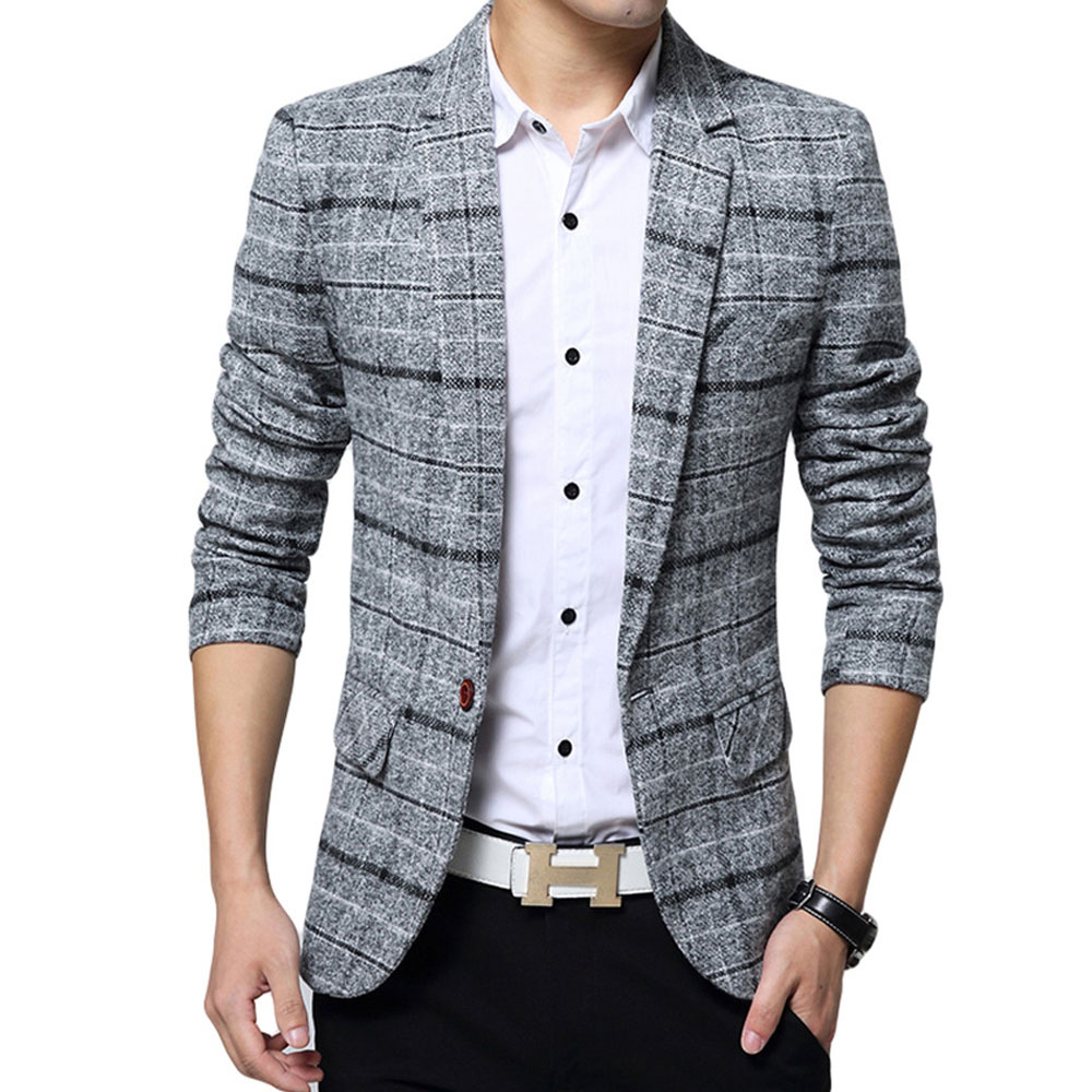 2019 New Brand High Quality Clothing Jacket Men's Plaid Suit Jacket Men Blazer Fashion Slim Male Casual Blazers Men Size M-5XL