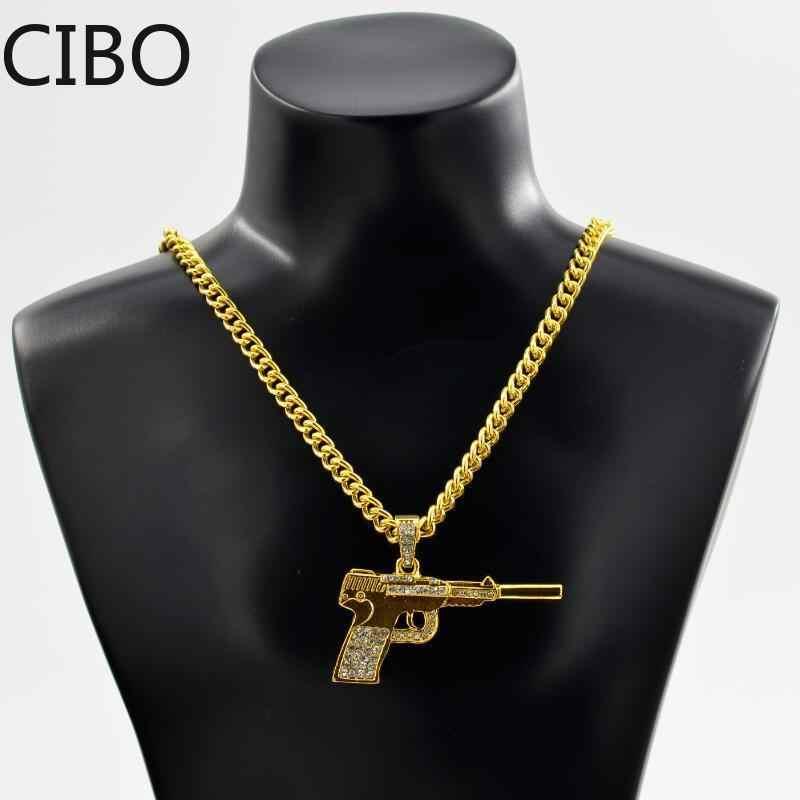 2019 nowego mężczyzna mrożona Rhinestone długie HIP Hop 2PAC pistolet naszyjniki wisiorki złoty kolor ze stali nierdzewnej Iced Out pistolet naszyjnik
