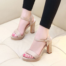 2018 Spring Ankle Wrap Buckle Women Sandals Female Flock Open Toe Party Dress Shoes Ladies Fashion Square High Heels CH-B0085
