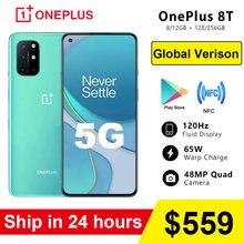 Küresel sürüm Oneplus 8 T 8 T KB2001 5G SmartPhone 120Hz sıvı AMOLED ekran Snapdragon 865 65W çözgü şarj cep telefonu