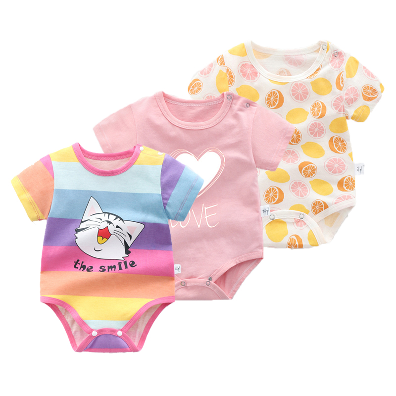 New Born Baby Boys Girls Summer Short Sleeve Bodysuit Cute Toddler Baby Print Dress Cotton Bag Fart Rompe Unisex Clothes Pajamas