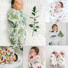 Pudcoco/ США; ; комплект из 2 предметов для маленьких мальчиков и девочек; пеленки с цветами; муслиновое одеяло; комплект одежды с повязкой на голову для пеленания
