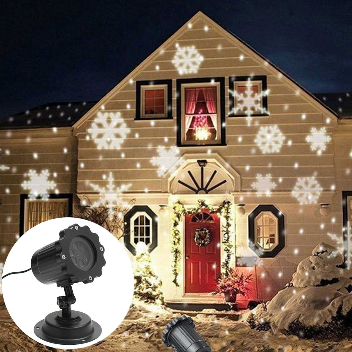 Christmas Automatic Moving Snowflake Light Outdoor Laser Projector Lamp Party Decor IP44 Waterproof Projection Light Big Sale
