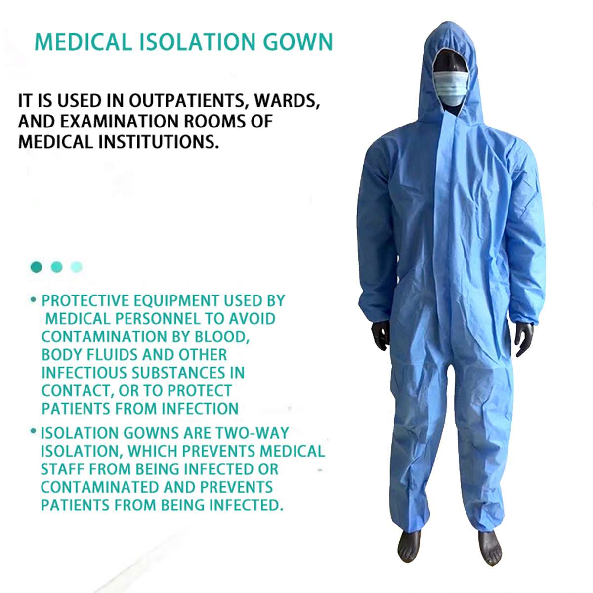 Blue Disposable Anti-epidemic Antibacterial Plastic Closures Isolation Suit Protective Clothing Dust-proof Coveralls Antistatic