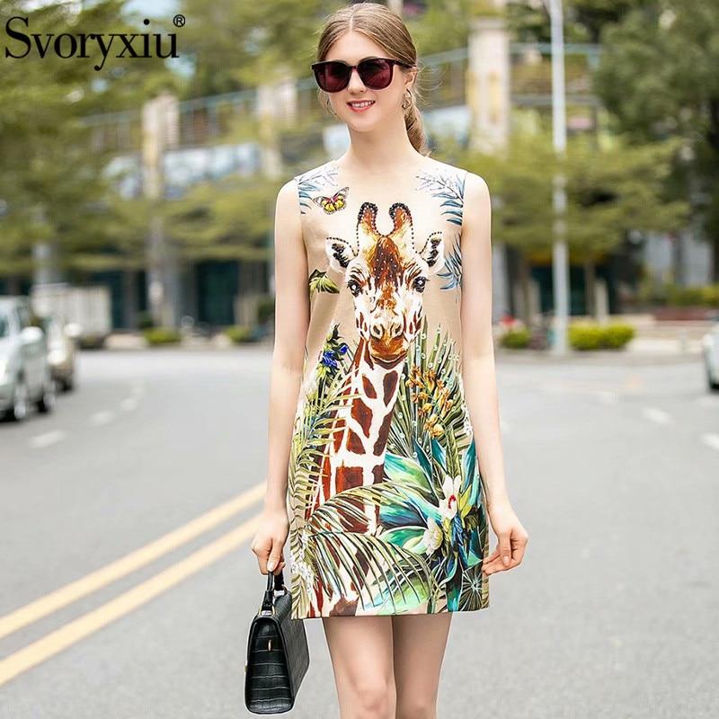 Svoryxiu New Spring Summer Runway Fashion Giraffe Print Sleeveless Mini Dress Women's Crystal Beading Luxury Party A Line Dress