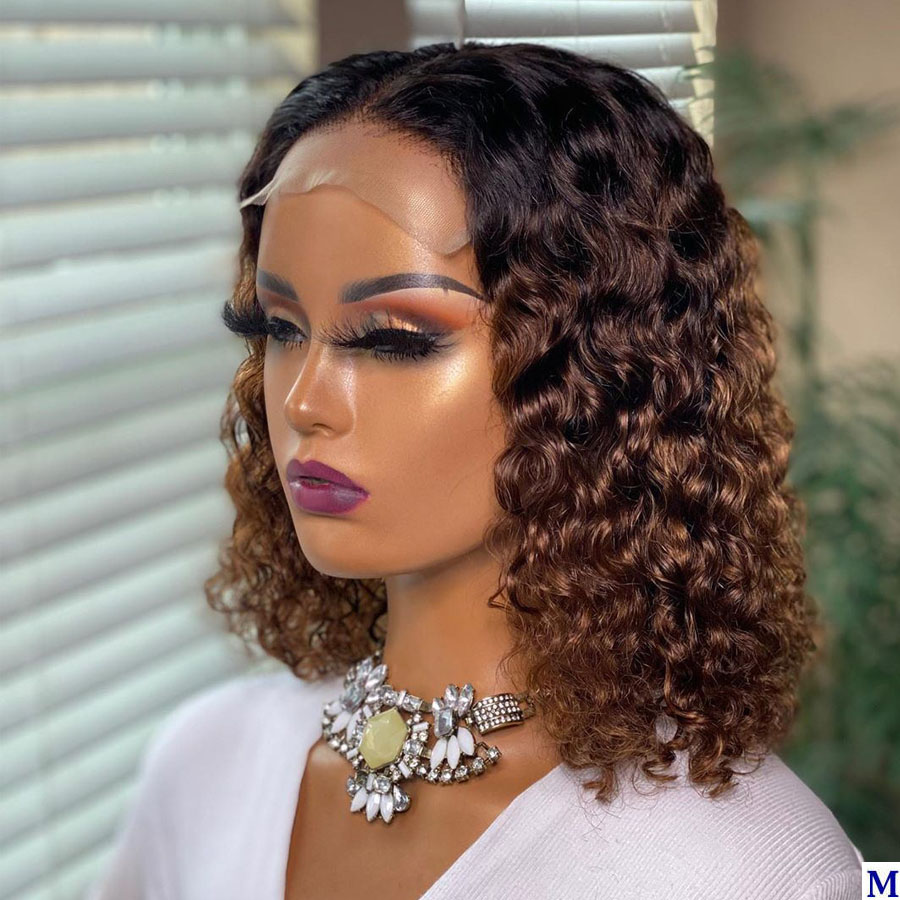 Middle Part Ombre Short Bob Curly Human Hair Wigs 150Density Blonde 13x6 Lace Front Human Hair Wigs For Black Women