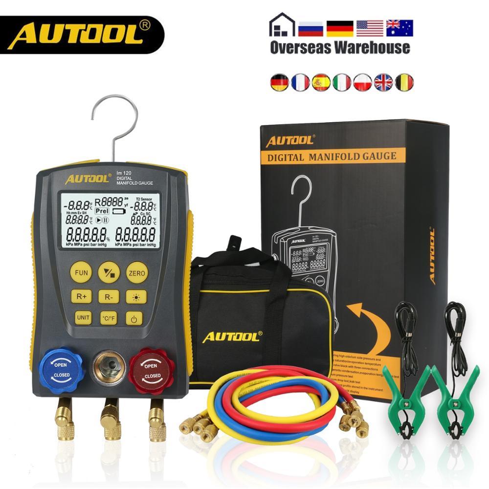AUTOOL LM120+ Air Conditioning Manifold Digital Vacuum Gauge For Refrigeration HVAC Vacuum Pressure Temperature Tester PK Testo