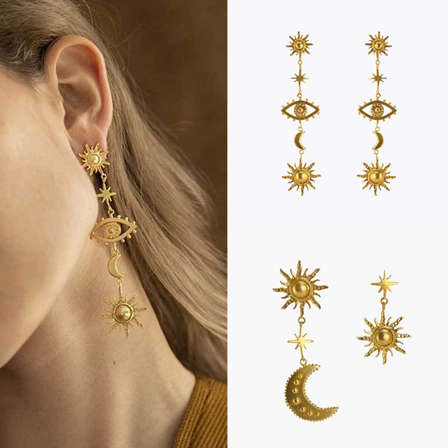 2019 New Deisgn Vintage Gold Color Sun Star Moon Earrings For Women Female Long Statement Earring.jpg 640x640 - 2019 New Deisgn Vintage Gold Color Sun Star Moon Earrings For Women Female Long Statement Earring Party Jewelry Gifts