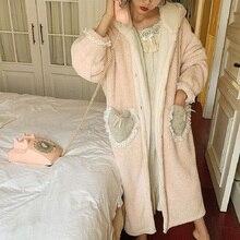 Otoño invierno suave cálido dulce de las mujeres grueso traje de franela Vintage princesa arco gran bolsillo de talla grande bata de dormir suelta
