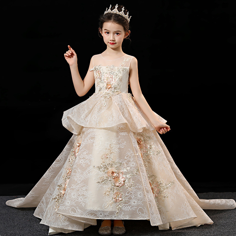 CHILDREN'S Dress Princess Dress Large Tailing Lace Wedding Dress Girls High-End Catwalks Costume Flower Boys/Flower Girls Embroi