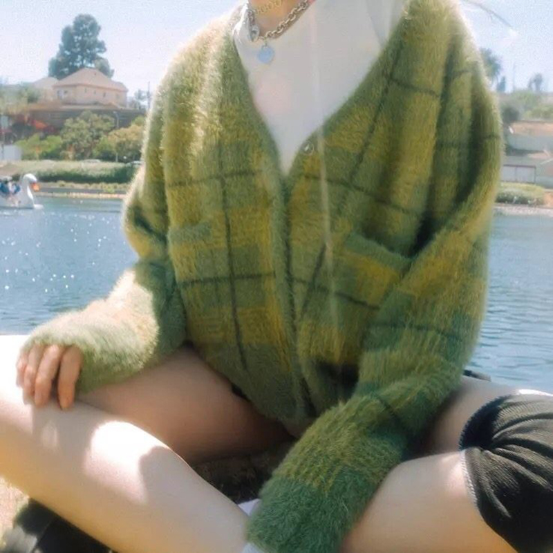 Unif Celebrity Style Avocado Green Plaid Mohair Sweater Furry Knitted Cardigan Loose-Fit Sweater Coat