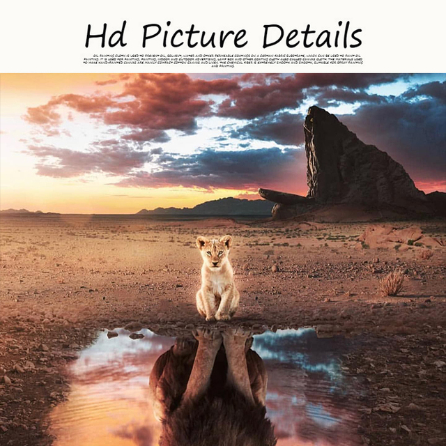 A Lion Cub Sees Himself Big Painting Printed on Canvas 3