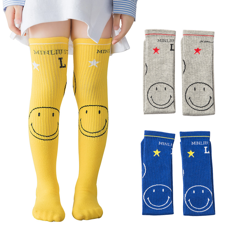 High-Socks Smile-Knee Girls Boys Kids Child for Elastic New Trendy 3-8-Years