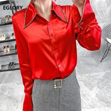 Top Quality Silk Blouses 2019 Autumn Red Blue Apricot Shirts Women Beading Turn-down Collar Long Sleeve Elegant Office Blouses(China)