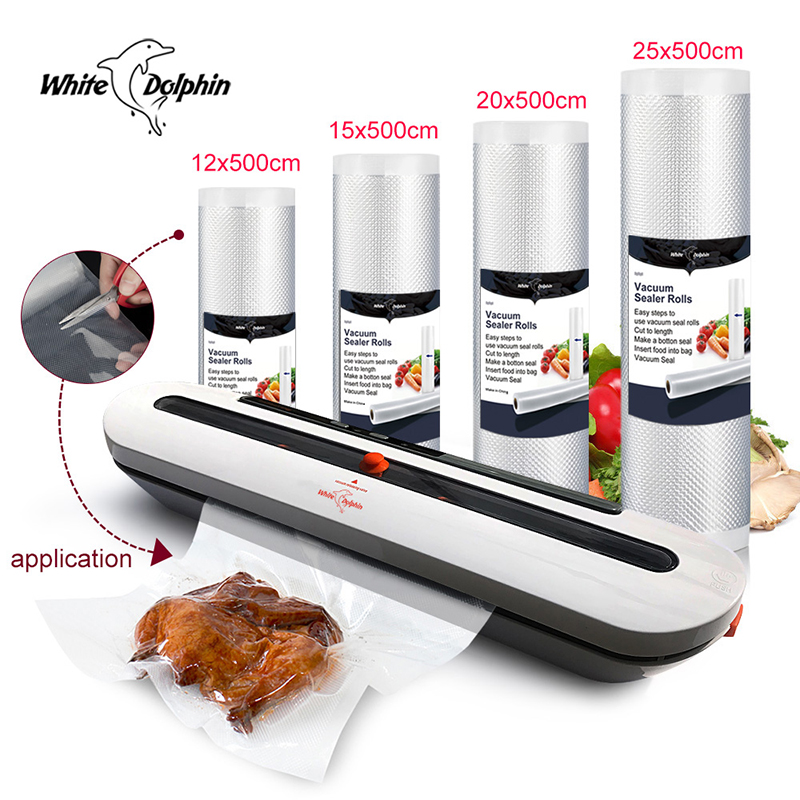 White Dolphin Vacuum Packaging Machine With 4 Rolls Food Saver Bags 12 15 20 25 X 500CM   Kitchen Vacuum Food Sealer 220V 110V