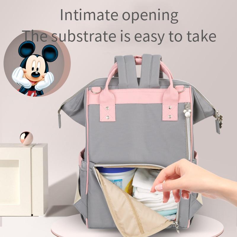 Дисней Микки Минни USB сумка для подгузников большая емкость для мам сумка для подгузников Детский рюкзак для путешествий для ухода за ребенком дизайнерский розовый