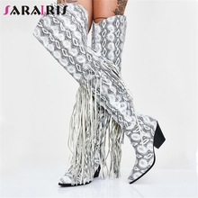 SARAIRIS New Luxury Plus Size 35-48 Brand Over The Knee Boots Ladies Thigh High Knight Women Fringe Shoes Woman Heels