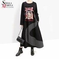 New Japanese Style 2019 Women Winter Black Long Dress Full Sleeve Cartoon Patch Lady Plus Size Harajuku Cute Dress vestidos 5651
