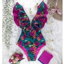 Verão borboleta floral impressão maiô 2020 novo sexy profundo v-neck ruffle maiô uma peça sem costas praia monkini