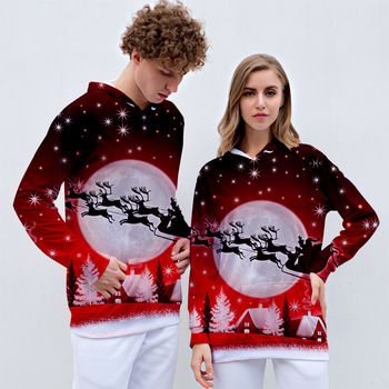RICORIT Christmas Hooded Sweater 3d Printing Men And Women Long Sleeve Tops Couples Casual Hooded Sweaters 2020 digital printing 3d printing explosion models long sleeved men and women hooded couple hoodie