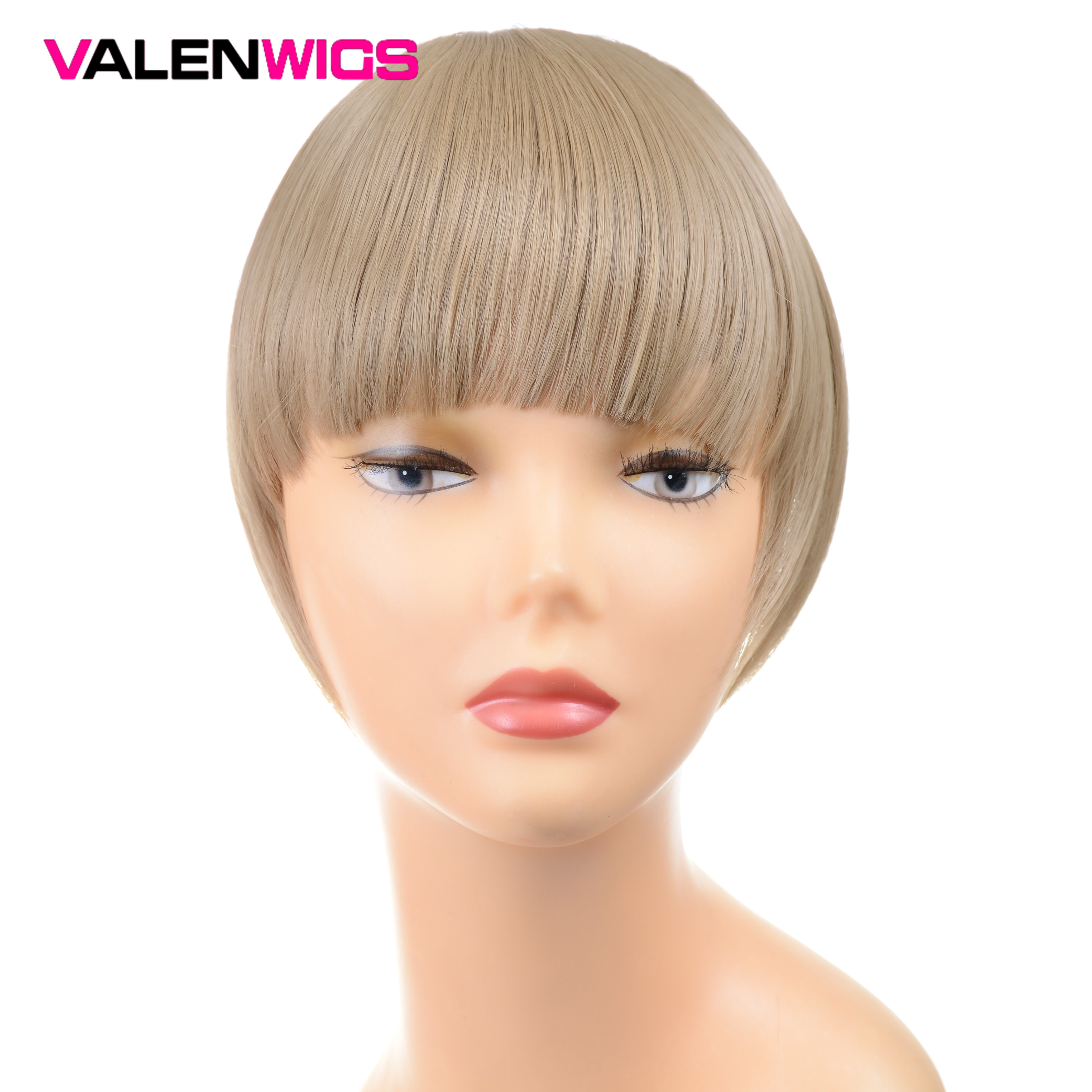 """ValentWigs 6"""" False Fringe Bangs Clip In Bangs One Piece Staight Synthetic Hair Extensions Front Neat Bangs Pure Color For Women"""