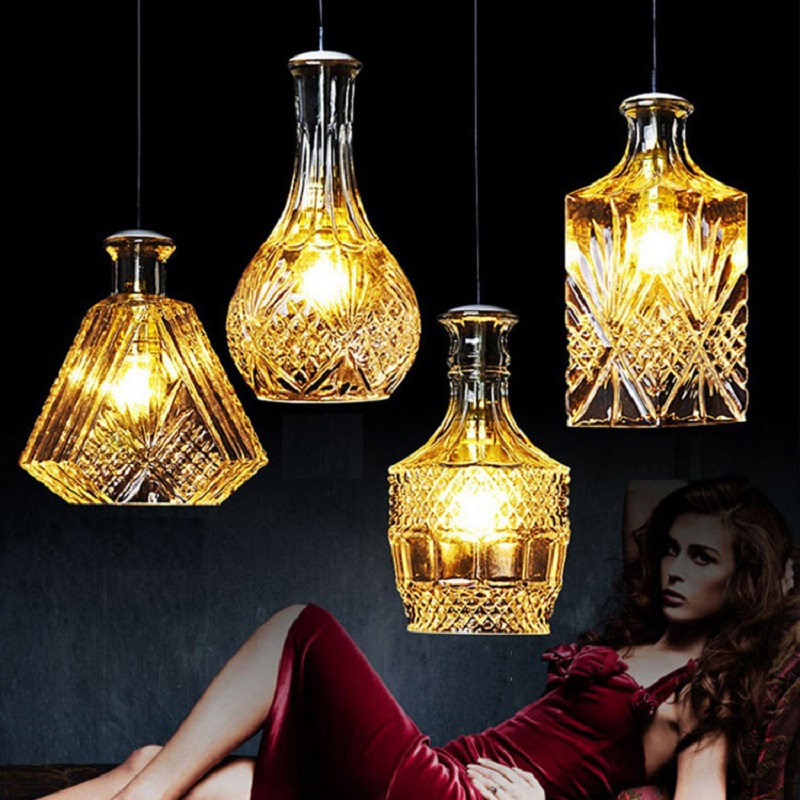 LukLoy Modern Glass Pendant Lights Lamp Glass Retro Pendant Light Hanging Lamp Retro Lighting Pendants Kitchen Led Bedside Lamp