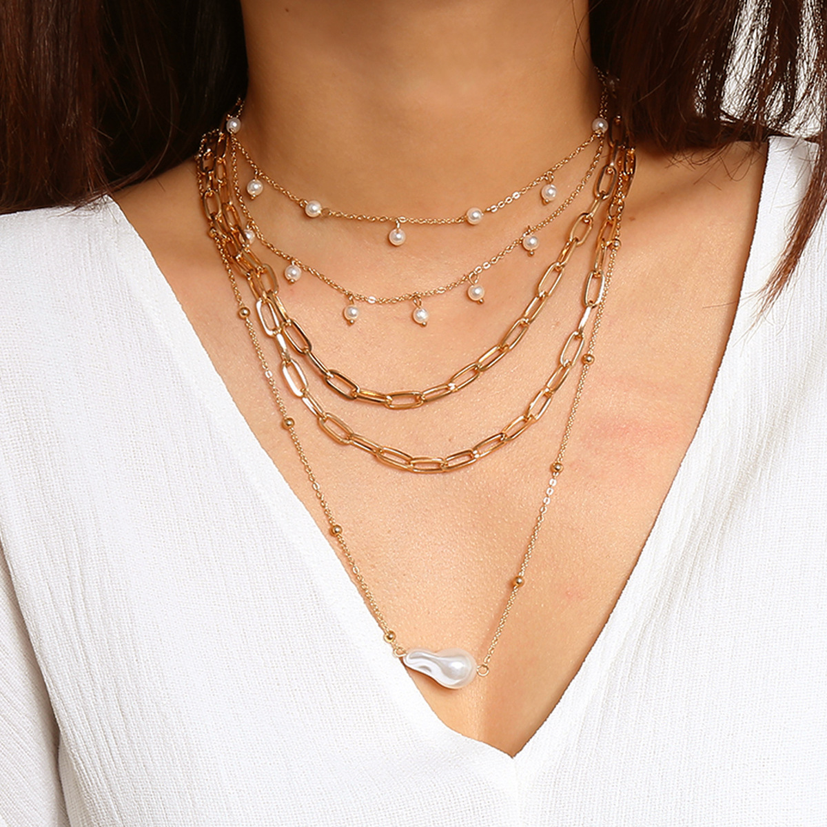 Baroque Imitation Pearl Pendant Necklace Tassel Choker Necklaces for Women Gold Color Fashion Jewelry Ladies Layered Necklace
