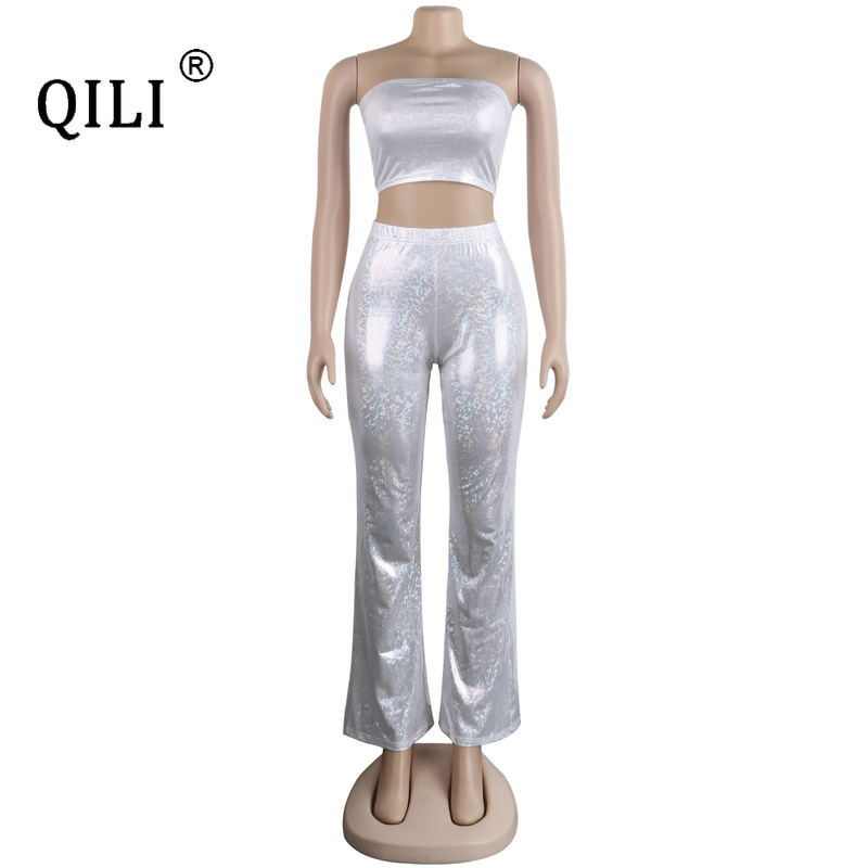 QILI Bronzing Jumpsuits Women 2 Piece Set Outfits Sexy Strapless Crop Top + Pants Outfits Sets Wide Leg Jumpsuit