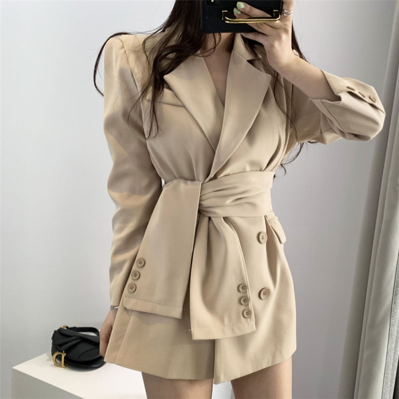 HziriP Brief Slender Lace Up Waist-Controlled Autumn Office Ladies Elegant All Match Feminine Regular Women Loose Plus Blazers