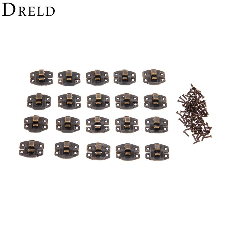 DRELD 20Pcs Antique Bronze Box Hasp Lock Catch Latches For Jewelry Box Suitcase Buckle Clip Clasp Furniture Hardware 24*19mm