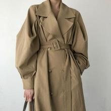 Elegant Windbreaker Women Slim With Belt Fashion Khaki Outerwear New Spring Autumn Double-breasted Turn Down Collar Trench Coat