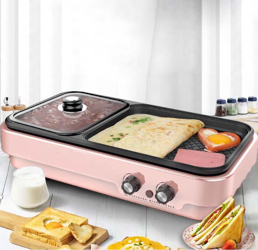 Multifunction Baking Pot Barbecue Machine Electric Hot Pot Grill Household Smoke Free Not Sticky Indoor Multipurpose in Multicookers from Home Appliances