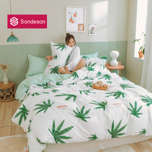 Sondeson Fashion Green Leaves 100% Cotton Bedding Set Printed Soft Duvet Cover Flat Sheet High Quality Pillowcase For Women Men fashion leaves printed boardshorts for men