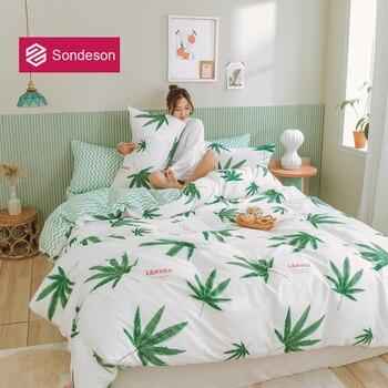 Sondeson Fashion Green Leaves 100% Cotton Bedding Set Printed Soft Duvet Cover Flat Sheet High Quality Pillowcase For Women Men