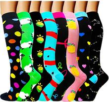 Chaussettes de Compression pour femmes et hommes, 49 Styles, 20-30 Mmhg, Animal drôle, ananas, points, course, cyclisme, longues pressions