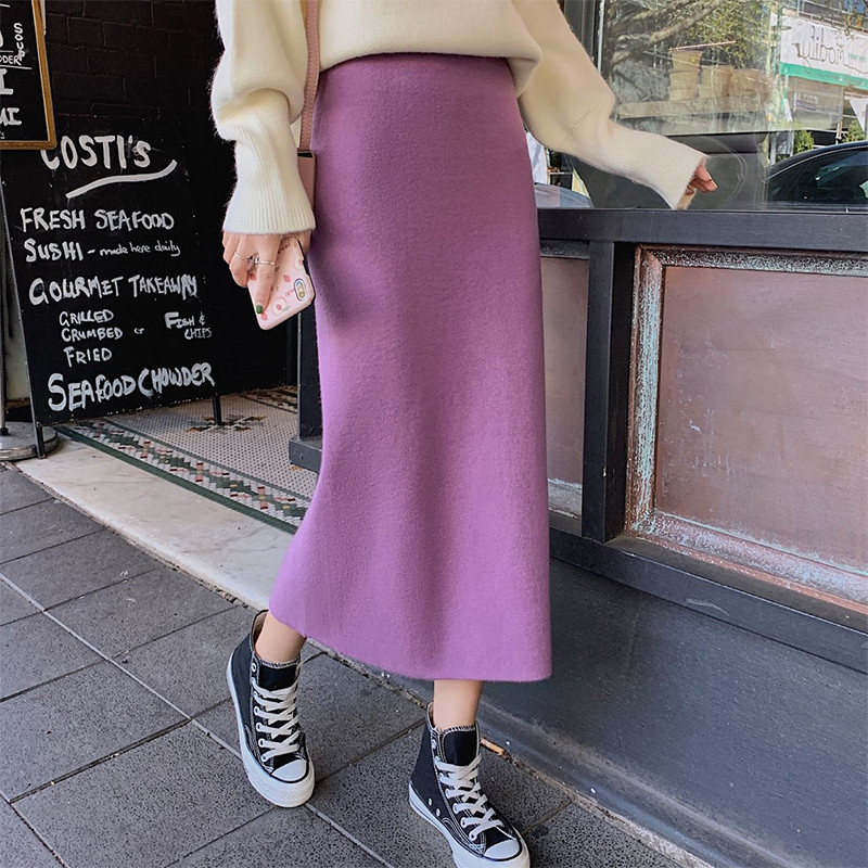 Autumn Winter Skirts Women 2019 Sexy Straight Knitted Long Black Skirt A Line Package Hip Split High Waist Ladies Midi Skirt