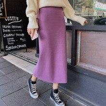 Autumn Winter Skirts Women 2020 Sexy Straight Knitted Long Black Skirt A Line Package Hip Split High Waist Ladies Midi Skirt