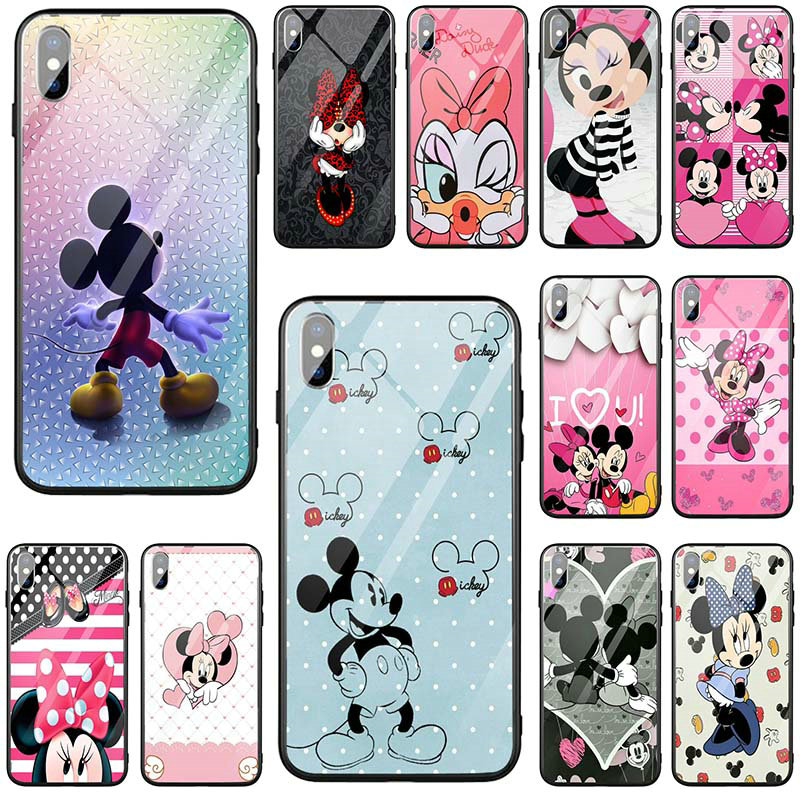 Tempered Glass Mobile Phone Cases Cover for <font><b>iPhone</b></font> 5 5S SE 6 <font><b>6S</b></font> 7 8 Plus X XR XS Max <font><b>Coque</b></font> Bags Hot Cartoon <font><b>Mickey</b></font> and Minne image