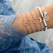 Bohemia Bangle flower Bead moon heart chain Bracelet with alloy for Women stainless steel bracelet Jewelry Accessories wholesale