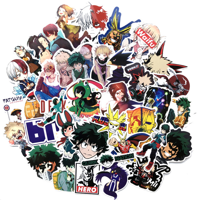 73pcs/set Anime My Hero Academia Stickers Cosplay Accessories Prop PVC Waterproof Cartoon Decal Cute Sticker