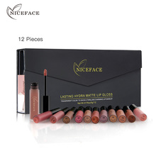 NICEFACE 12 개/대 매트 롱 라스팅 립스틱 12 색 립 글로스 방수 립 스틱 5gx12 뷰티 립 메이크업 립스틱 BLWS