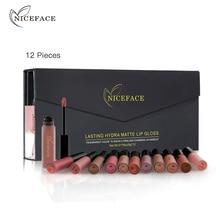 NICEFACE 12 adet/takım mat uzun ömürlü ruj 12 renk dudak parlatıcısı su geçirmez dudak sopa 5gx12 güzellik dudaklar makyaj ruj BLWS